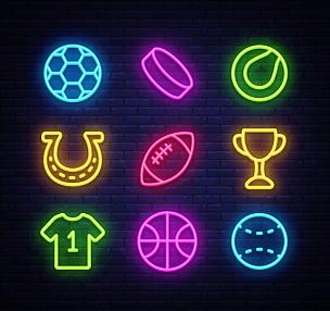 绘画插图,运动,矢量,足球,计算机图标,霓虹灯,网球运动,棒球,篮球运动,收集