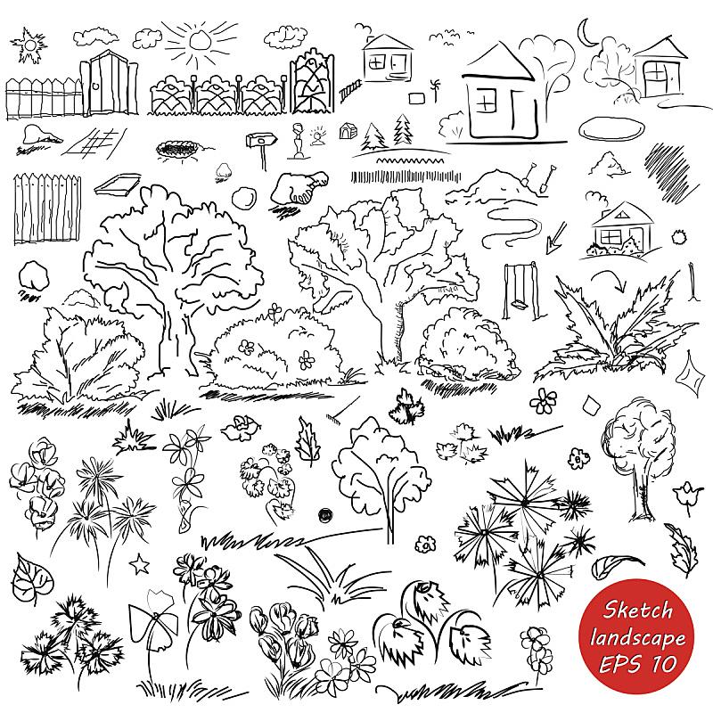 户外,地形,草图,天气,轮廓,乱画,洞,山,绘画插图,泥土