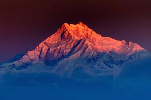 锡金,山,黎明,干城章嘉峰,山顶,水平画幅,透过窗户往外看,雪,无人,喜马拉雅山脉