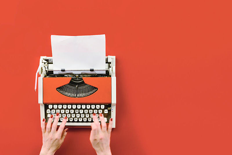 白色,打字机,空白的,红色,纸,床单,留白,古老的,新闻记者,古典式