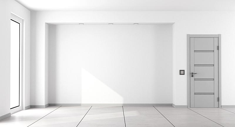 白色,空的,起居室,极简构图,砖地,窗户,住宅房间,灰色,水平画幅,墙