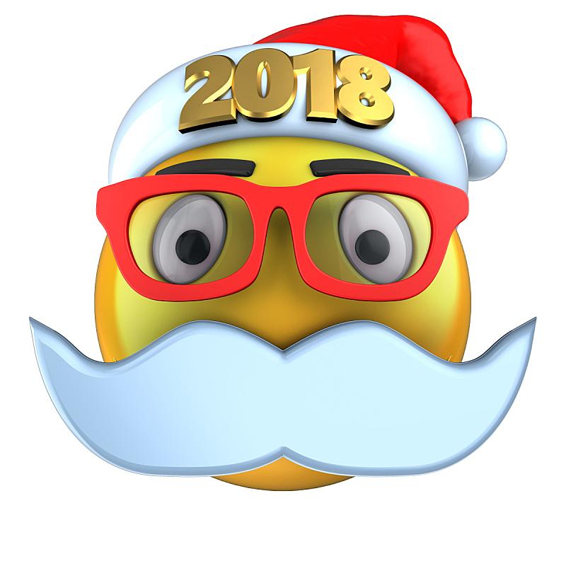 表情符号,2018,黄色,帽子,三维图形,圣诞帽,在线聊天,络腮胡子,无人
