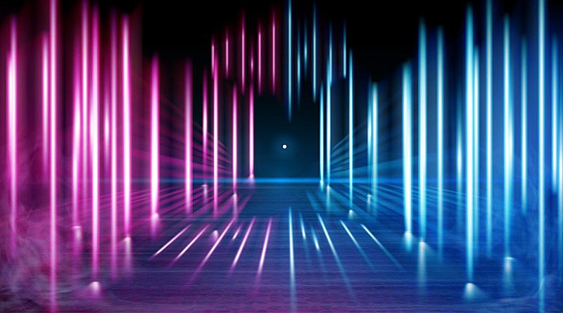 夜晚,矢量,烟,霓虹灯,天空,透明,云,星形,路,雾