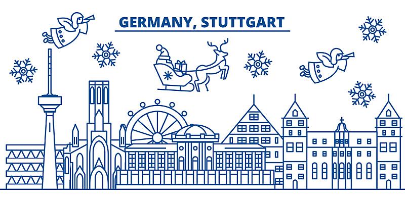 贺卡,雪,绘画插图,冬天,矢量,城市天际线,新年前夕,德国