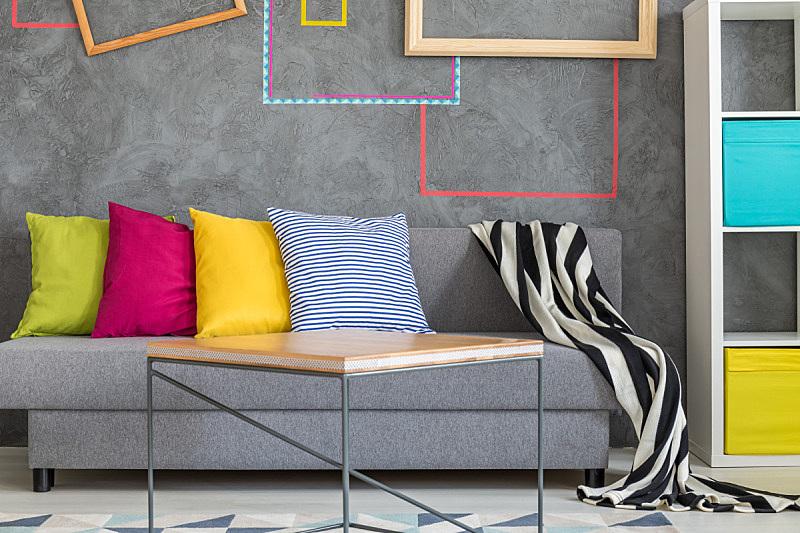 沙发,灰色,枕头,多色的,新的,水平画幅,家具,现代,想法,宽的