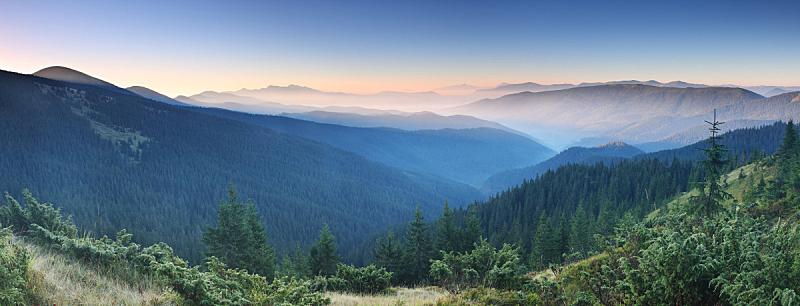 早晨,山,天空,美,气候,水平画幅,无人,夏天,户外,草