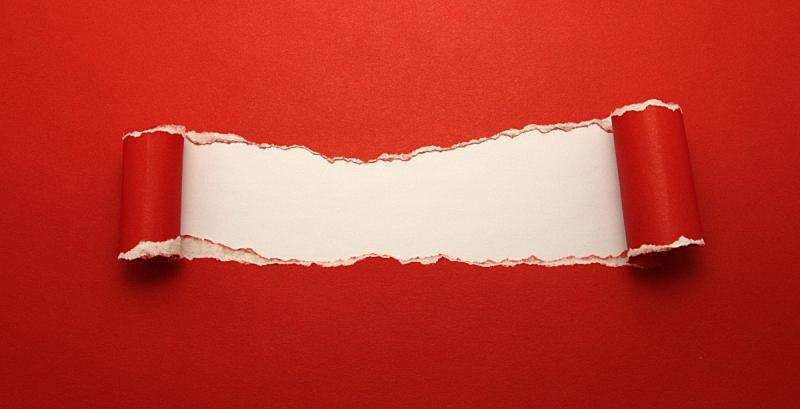 撕破的,红色背景,卷着的,留白,洞,边框,水平画幅,消息,无人