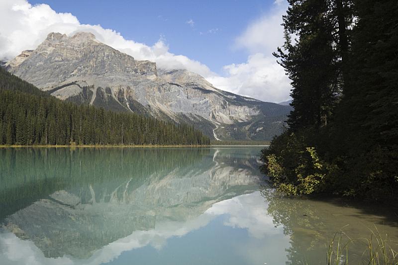 翡翠湖,风景,加拿大落基山脉,自然,水,松树,水平画幅,绿色,地形