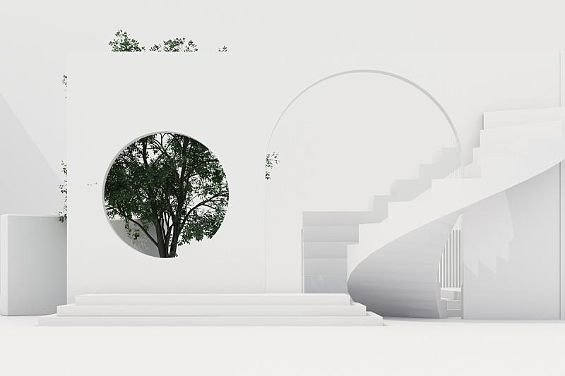 几何形状,三维图形,拱门,白色背景,楼梯,背景分离,彩色背景,华贵,圆柱体,泰国