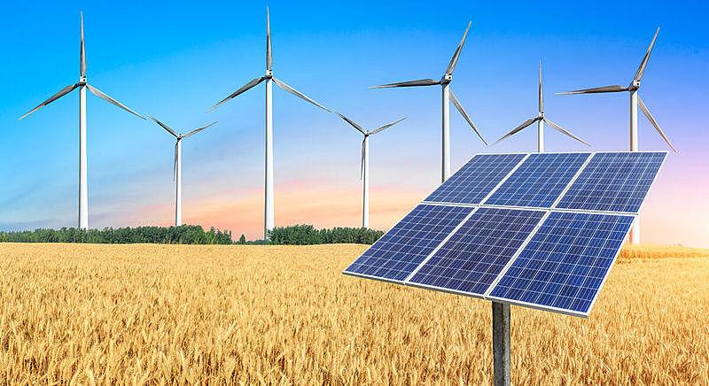 风,能源,熟的,小麦,田地,可再生能源,可持续资源,自然神力,涡轮,天空
