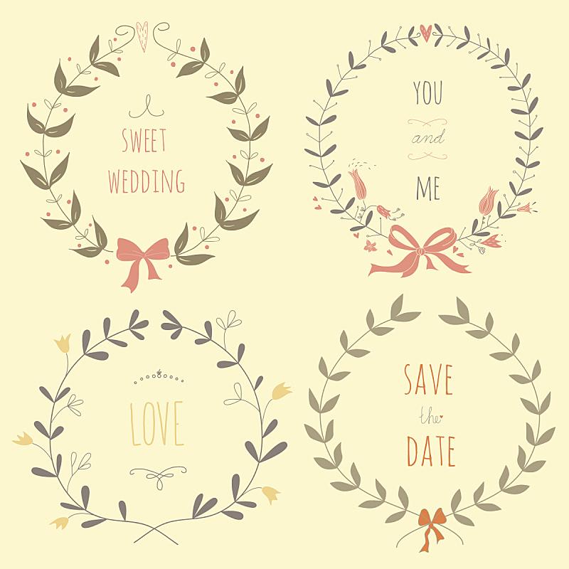婚礼,花环,动物手,请柬,菜单,贺卡,圣诞装饰物,边框,复古风格,古典式