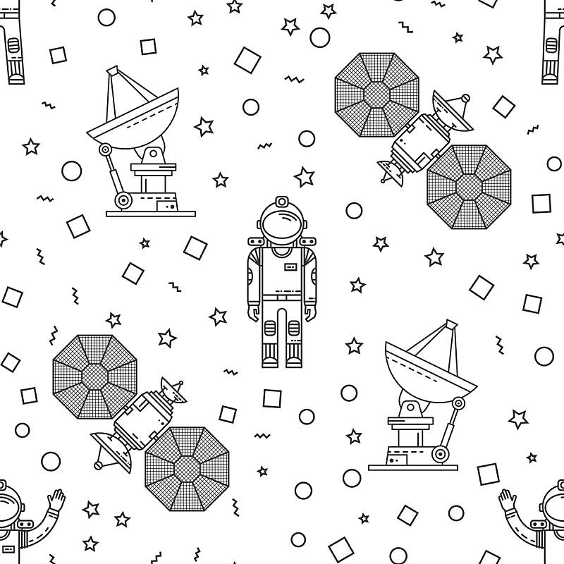 四方连续纹样,太空,天空,艺术,形状,宇航员,绘画插图,符号,太空船,科学