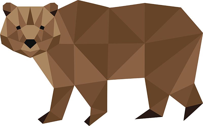 熊,低多边形效果 ,棕熊,三角形,几何形状,背景分离,野生动物,简单,哺乳纲,现代