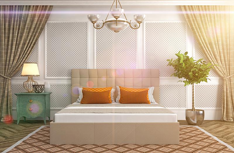 卧室,室内,绘画插图,三维图形,床头板,褐色,新的,水平画幅,无人,家具