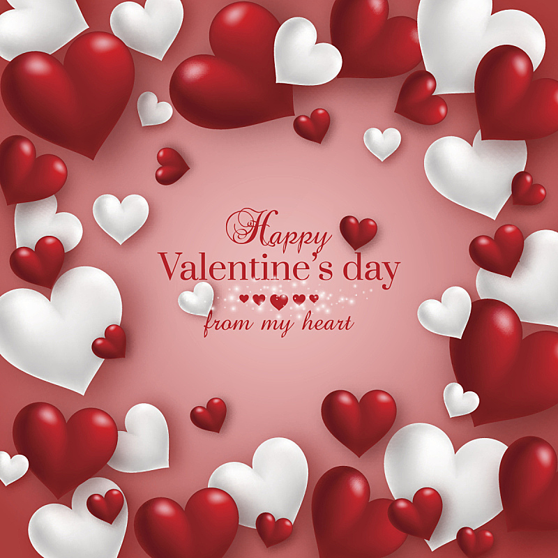 情人节卡,三维图形,红色背景,半空中,动物心脏,情人节,贺卡,绘画插图,模板