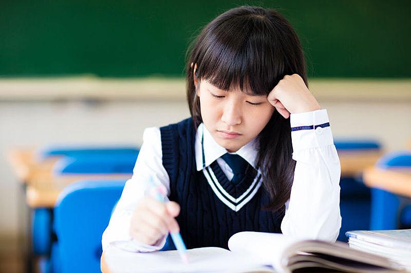 学生,教室,压力,高中,亚洲,校服,亚洲人,美,青少年,头痛