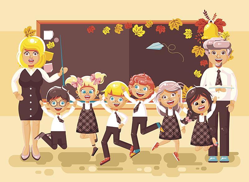 绘画插图,卡通,未成年学生,学员,矢量,背景,黑板,教室,教师,重返校园
