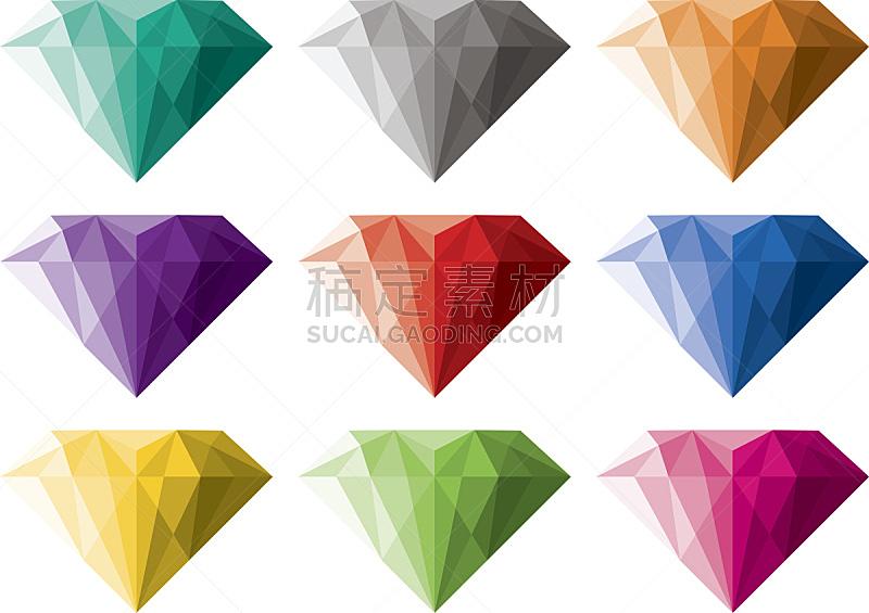 钻石形,矢量,一个物体,背景分离,华贵,灰色,橙色,婚礼,贵重宝石,石头