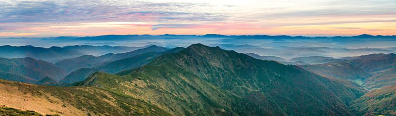 全景,山脉,天空,美,水平画幅,高视角,云,山,夜晚,无人