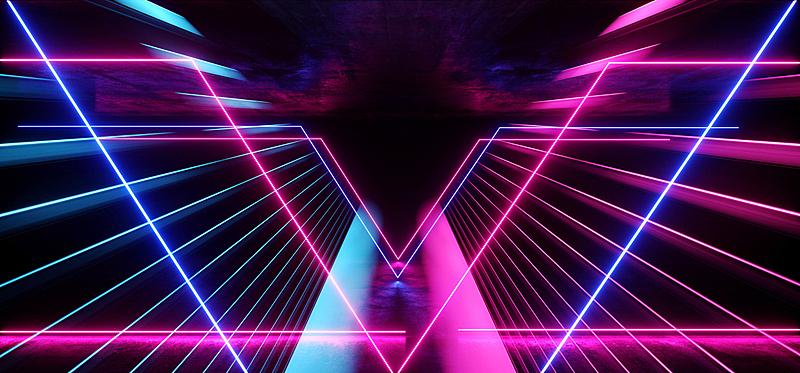 形状,三维图形,紫色,蓝色,未来,背景,抽象,现代,隧道,走廊