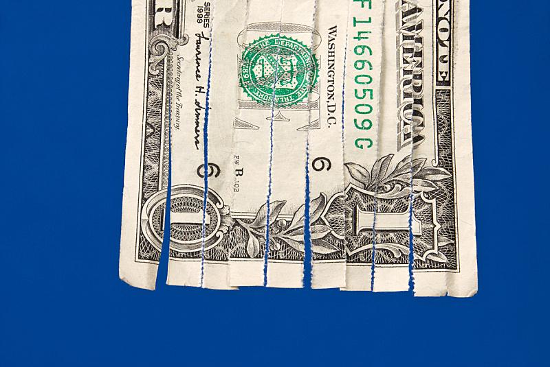 碎纸,帐单,美国一美元钞票,水平画幅,无人,蓝色,金融,背景分离,概念,彩色图片