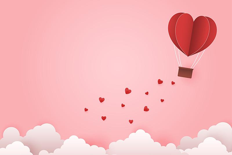 天空,云,情人节,绘画插图,蜜月,矢量,时尚,充气筏,心型,纸