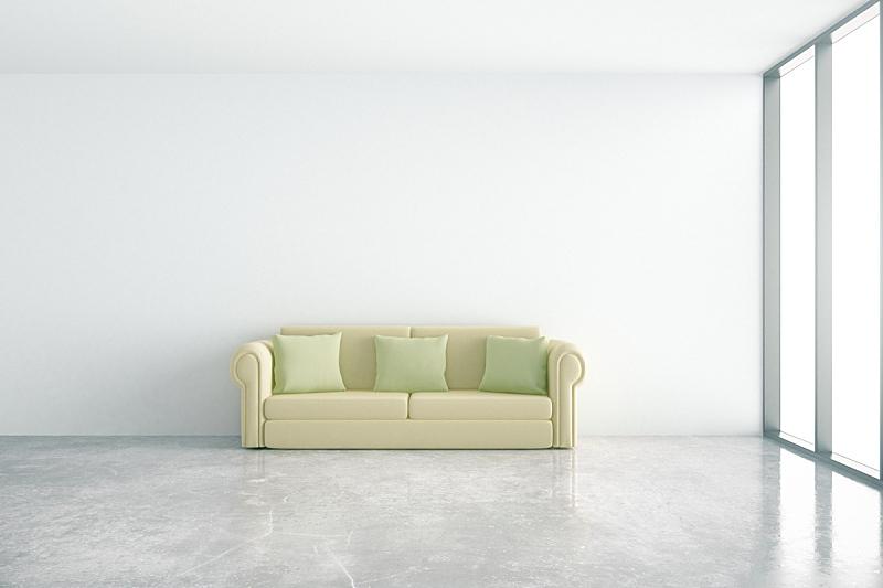 沙发,室内,正面视角,新的,水平画幅,墙,无人,家庭生活,家具,干净