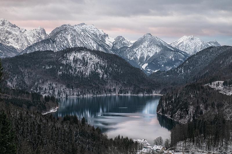 湖,阿尔卑斯山脉,地形,非凡的,寒冷,环境,雪,天气,著名景点,松树