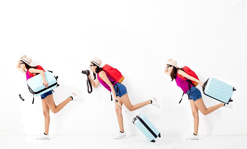 手提箱,青年女人,快乐,拿着,旅行者,背包,紧迫,行李,相机,欣喜若狂