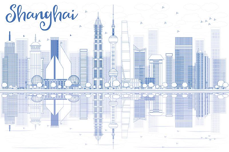 城市天际线,轮廓,蓝色,上海,商务,城市生活,景观设计,商务旅行,直的,现代