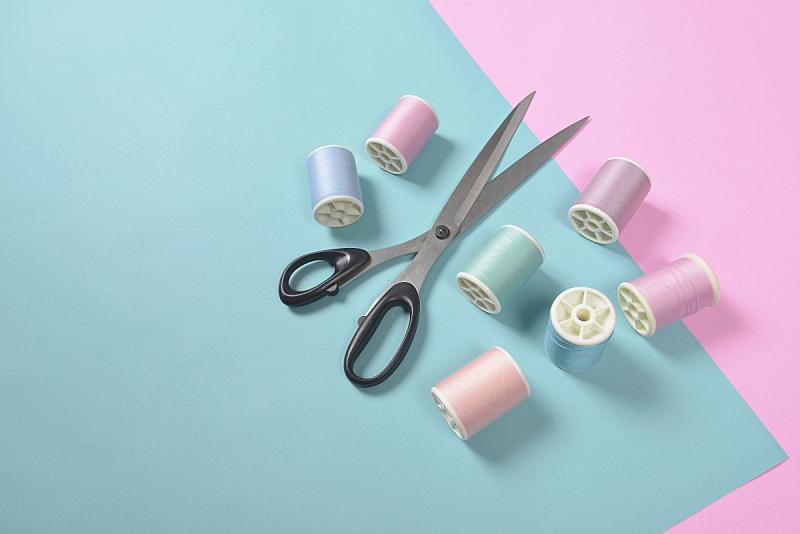线,针织品,剪刀,背景,平铺,概念,双色,调色板,水平画幅,高视角