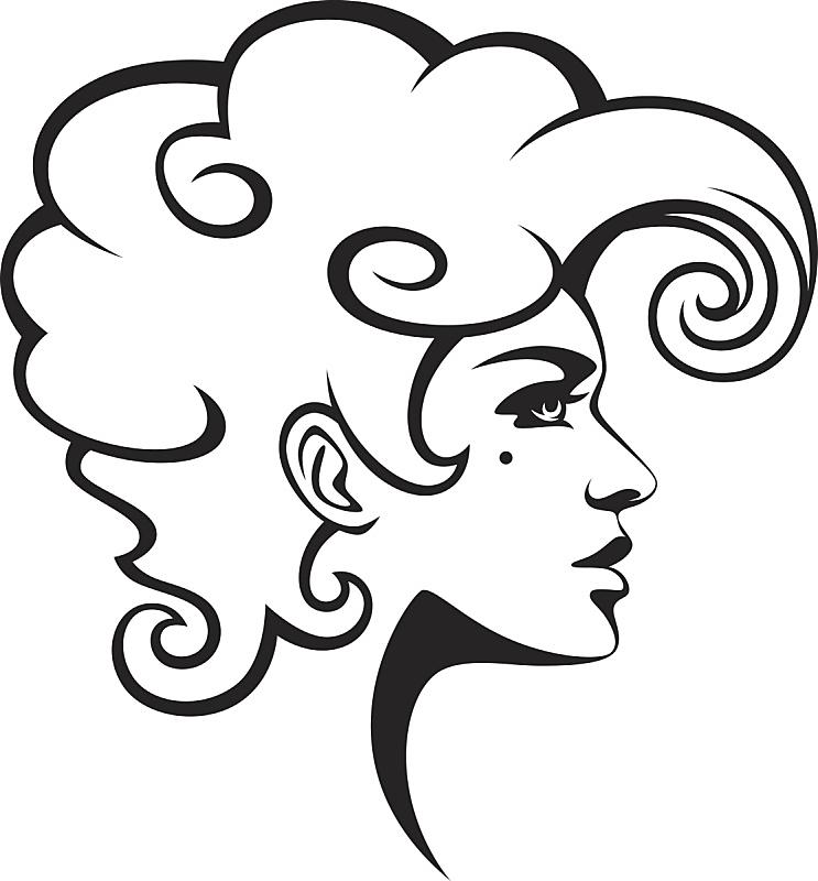 人的头部,女人,艺术模特,发型屋,侧面像,线条,背景分离,肖像,从容态度,复古风格