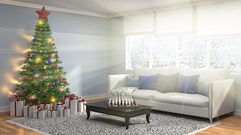 圣诞树,绘画插图,起居室,三维图形,球,新的,水平画幅,夜晚,无人