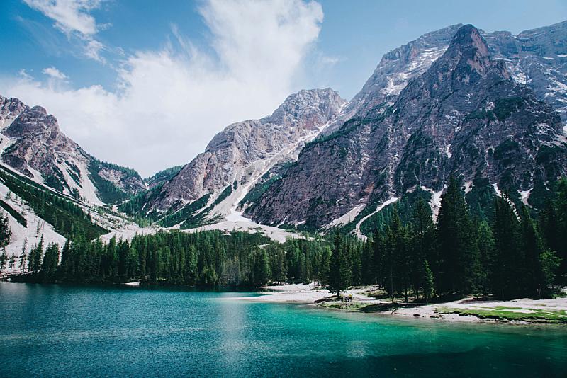 多洛米蒂山脉,意大利,风景,山,特伦蒂诺,苏打,自然美,布拉伊斯湖,上阿迪杰,池塘