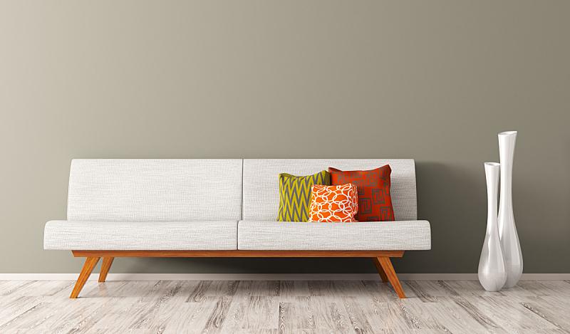 沙发,白色,三维图形,室内,起居室,极简构图,座位,水平画幅,纺织品,墙