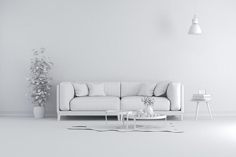 极简构图,白色,三维图形,室内,自然美,生活平衡,办公椅,豪宅,复式楼,视点