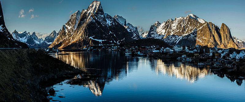 罗弗敦,鳕鱼干,雷讷,水平画幅,无人,挪威,全景,摄影