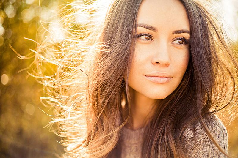 自然美,秋天,女人,地形,头发,25岁到29岁,棕色头发,美人,白日梦,30到39岁