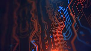 技术,计算机,蓝色,计算机部件,黄色,背景,数字化显示,橙色,水平画幅,能源