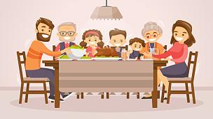 家庭,纸牌,晚餐,膳食,历日,土耳其,卡通,性格,桌子,儿子