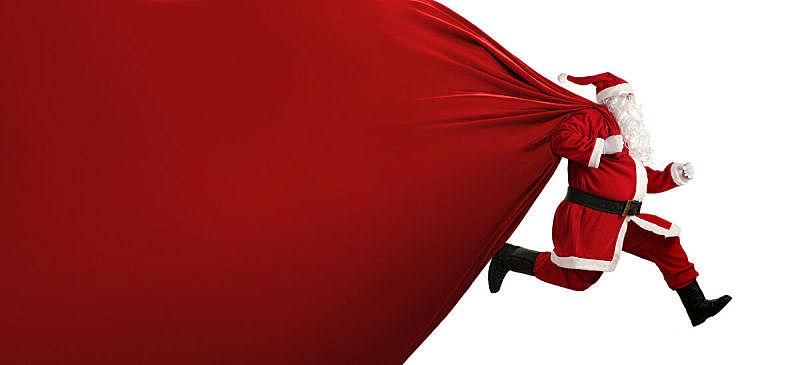 巨大的,圣诞老人,在活动中,重的,性格,白色,十二月,冬天,布告栏