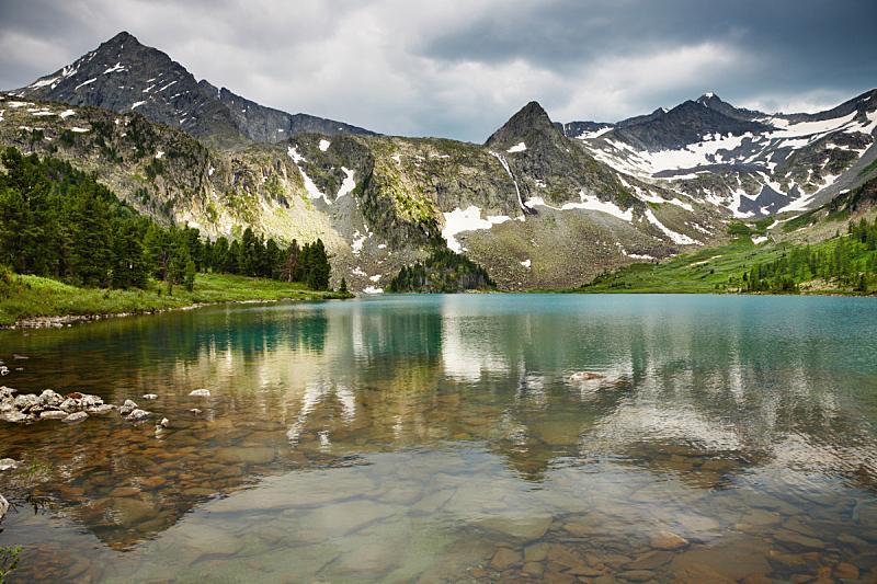 湖,山,自然,悬崖,水平画幅,岩石,雪,无人,夏天,户外