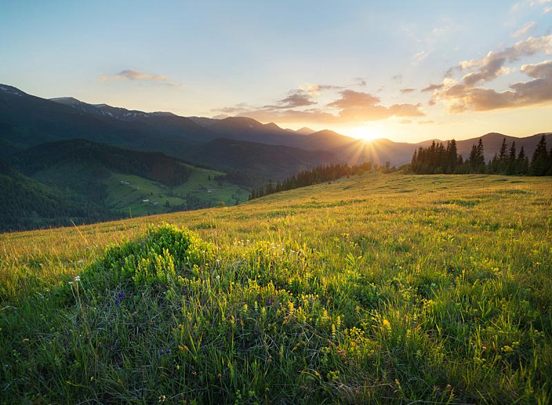 夏天,地形,山,自然,自然美,山谷,山脊,天空,草坪,草