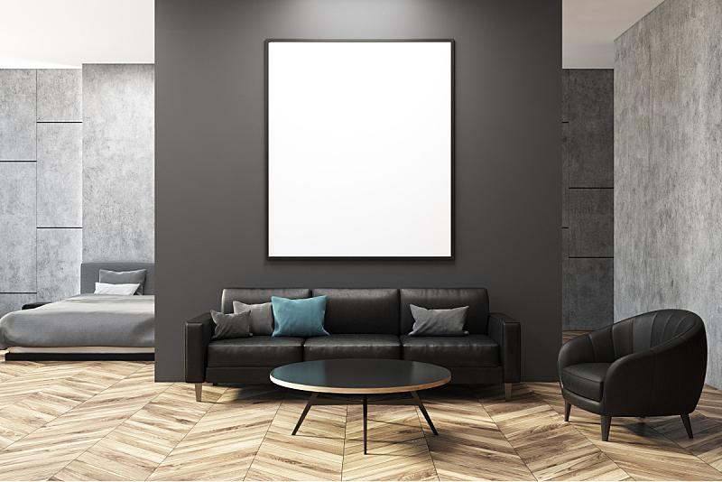 混凝土,灰色,起居室,黑色,新的,水平画幅,无人,家庭生活,灯