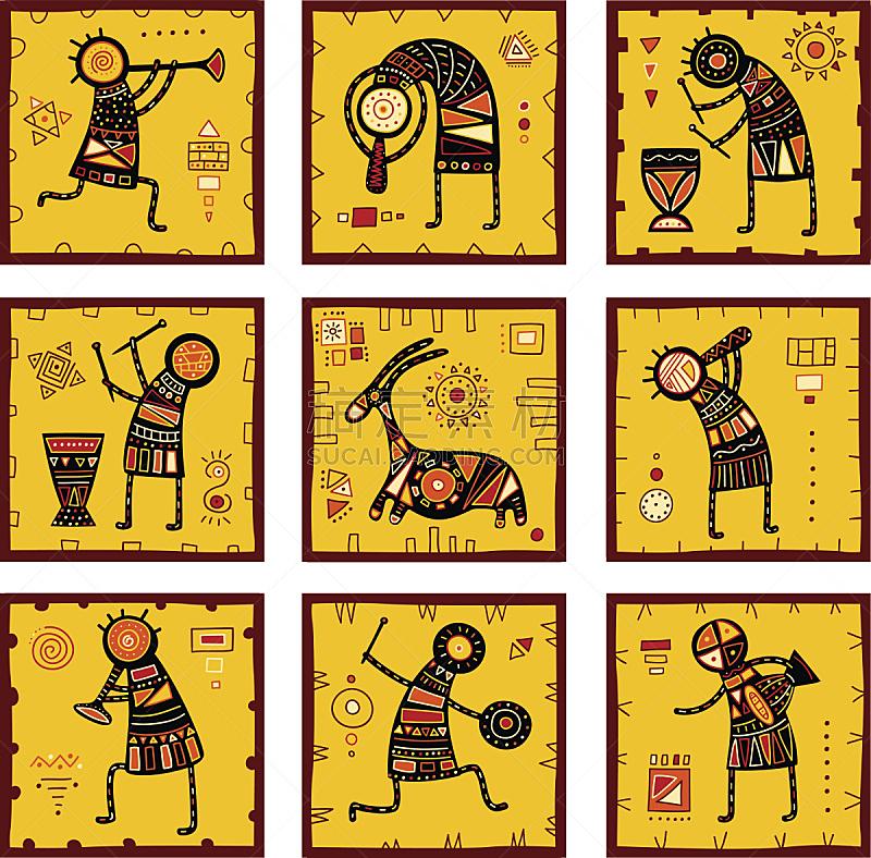 背景,式样,数字9,金贝鼓,美洲土著居民,非洲,打击器,传统,几何形状,橙色