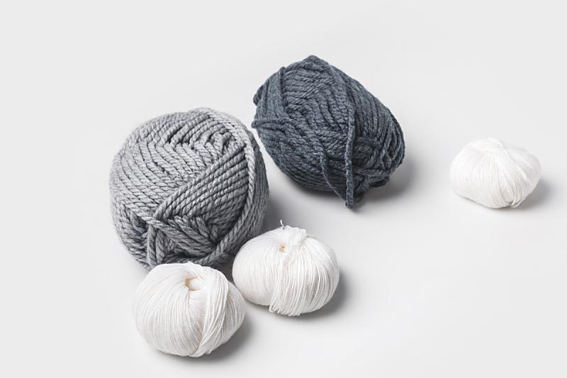球,白色,灰色,羊毛,分离着色,水平画幅,机织织物,无人,工艺品,毛绒绒