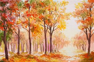 地形,秋天,色彩鲜艳,森林,天空,艺术家,绘画插图,画笔