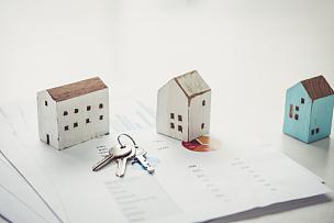 房屋,概念,钥匙,抵押文件,银行业,在家购物,模型,桌子,金融