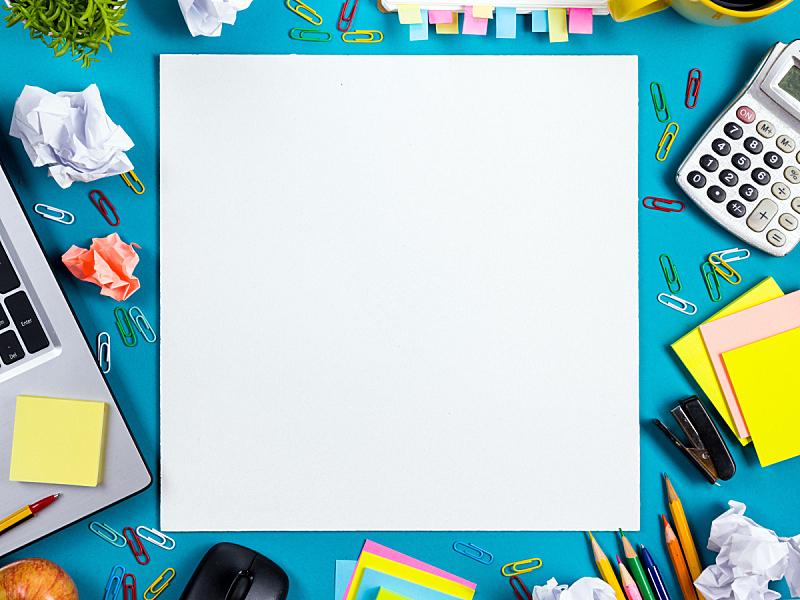 白色,书桌,办公室,空白的,桌子,色彩鲜艳,设备用品,留白,高视角,书页