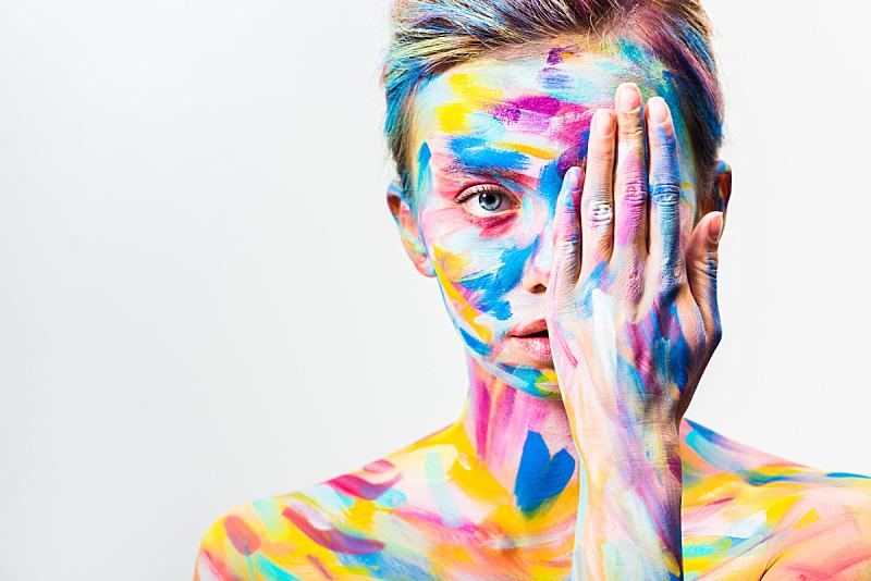 明亮,身体装饰,分离着色,色彩鲜艳,女孩,人的眼睛,白色,美,留白